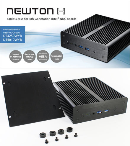 Akasa Newton H enclosure (for Intel NUC D34010WYB/D54250WYB) <b>[FANLESS]</b>