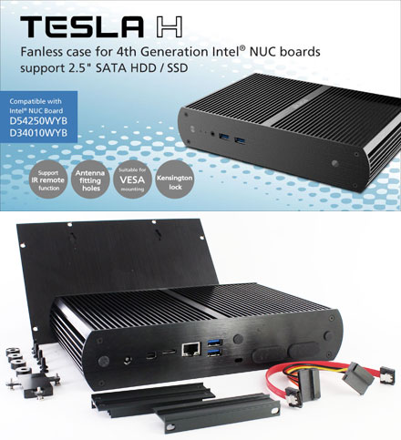 Akasa Tesla H enclosure (for Intel NUC D34010WYB/D54250WYB) <b>[FANLESS]</b>