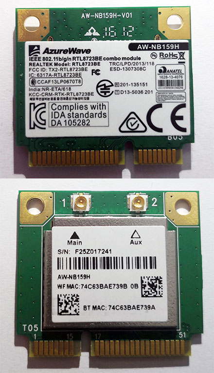 Wireless LAN / Bluetooth Mini-PCI Express [AzureWave AW-NB159H]