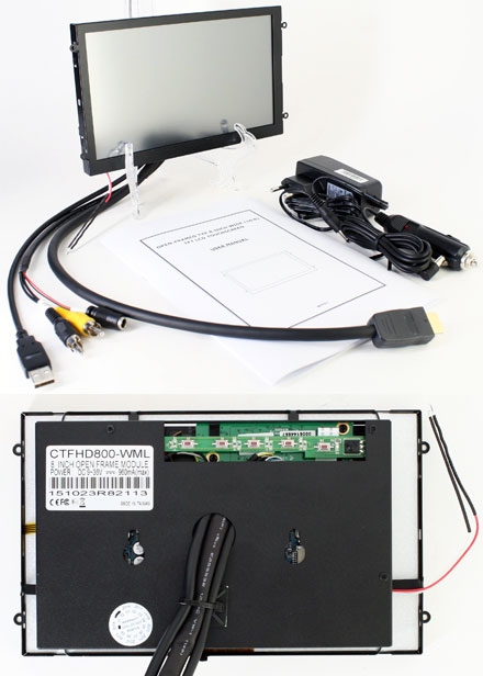 "CTFHD800-<b>WMSL</b> - HDMI 8.0"" (16:9) TFT - Touchscreen USB - Video - <b>OPEN-FRAME</b> (<b>1024x600, 500 nits, LED</b>) <b>-TRANSFLECTIVE PRO-</b>"