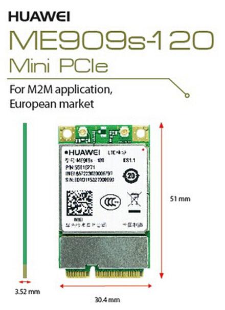 HSPA / UMTS / EDGE / <b>LTE 4G</b> Mini-PCIe Modem (Huawei ME909s-120)