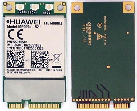HSPA / UMTS / EDGE / <b>LTE 4G</b> Mini-PCIe Modem (Huawei ME909u-521)