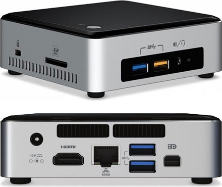 Intel NUC6i5SYK (Intel Core i5-6260U CPU 2x 1.8Ghz, 1x HDMI, 1x dP, 1x M.2 SSD support)
