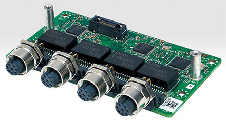 Mitac MX1-10FEP expansion module MS-04LAN-M10 (4x Intel i210-IT Gigabit LAN, M12 ports)