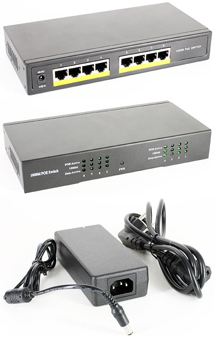 POE Gigabit Switch (8x POE IEEE802.3af/at, 120W)