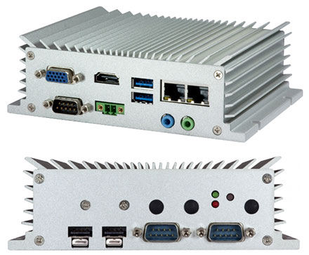 VIA AMOS-3005-1Q12A2 Industrial-PC (1.2GHz VIA Eden X4, 9-36VDC, 2x LAN, -20° bis 60°C Extented temperature range) <b>[FANLESS]</b>